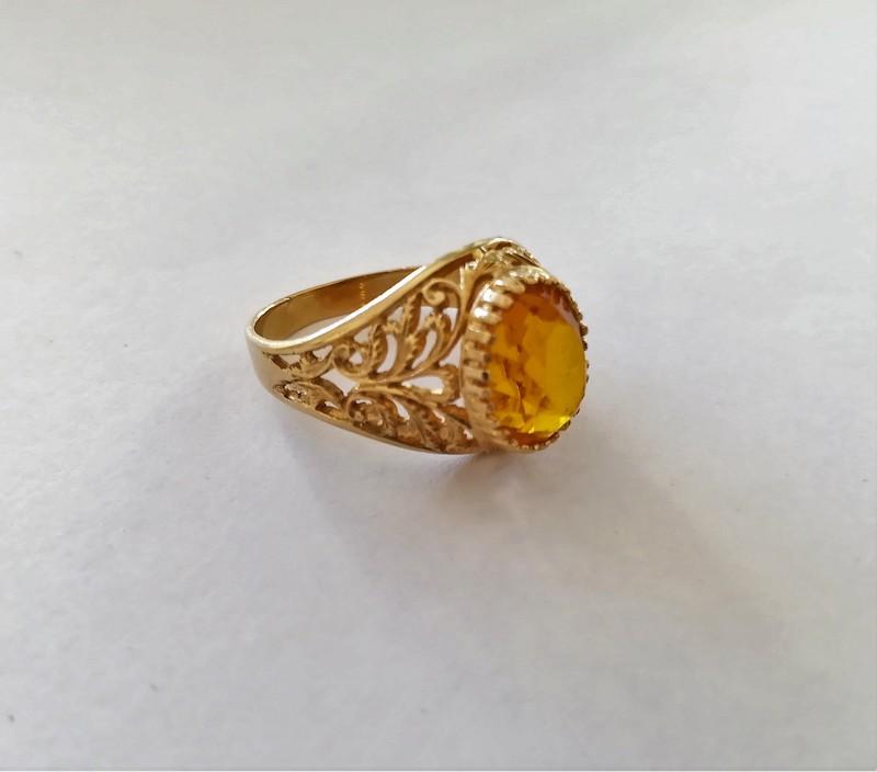anello oro giallo in filigrana e citrino