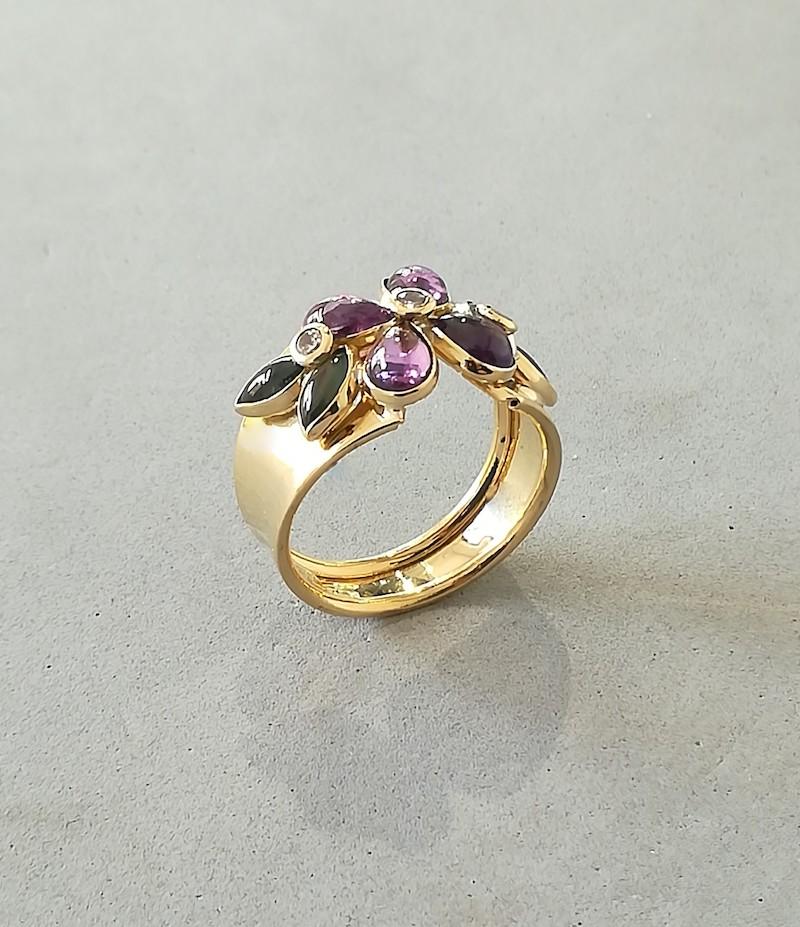 anello oro giallo con pietre colorate cabochon