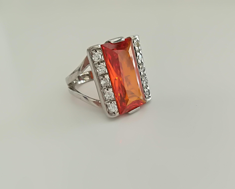 anello argento 925 con zircone baguette colorata