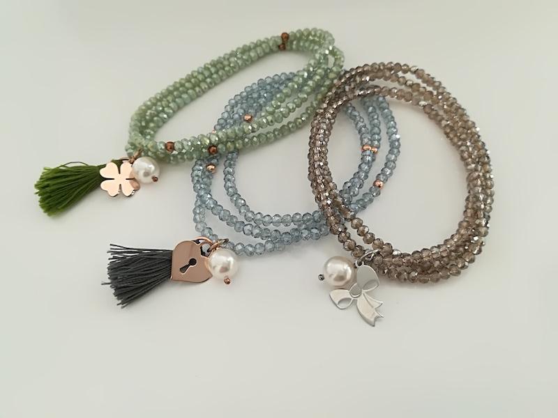Collana/Bracciale elastico con cristalli e elementi in argento 925