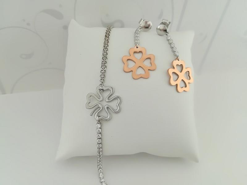 Bracciale e orecchini argento 925 quadrifoglio e zirconi