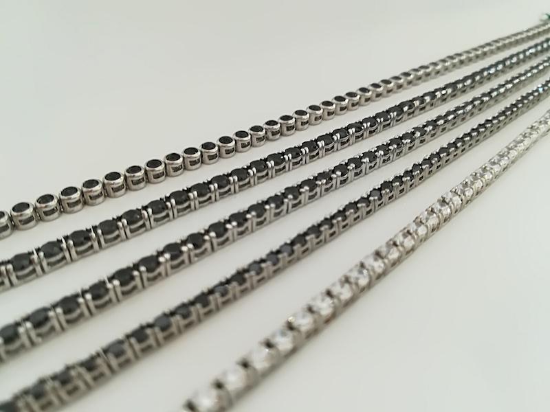 Tennis argento 925 e zirconi bianchi o neri