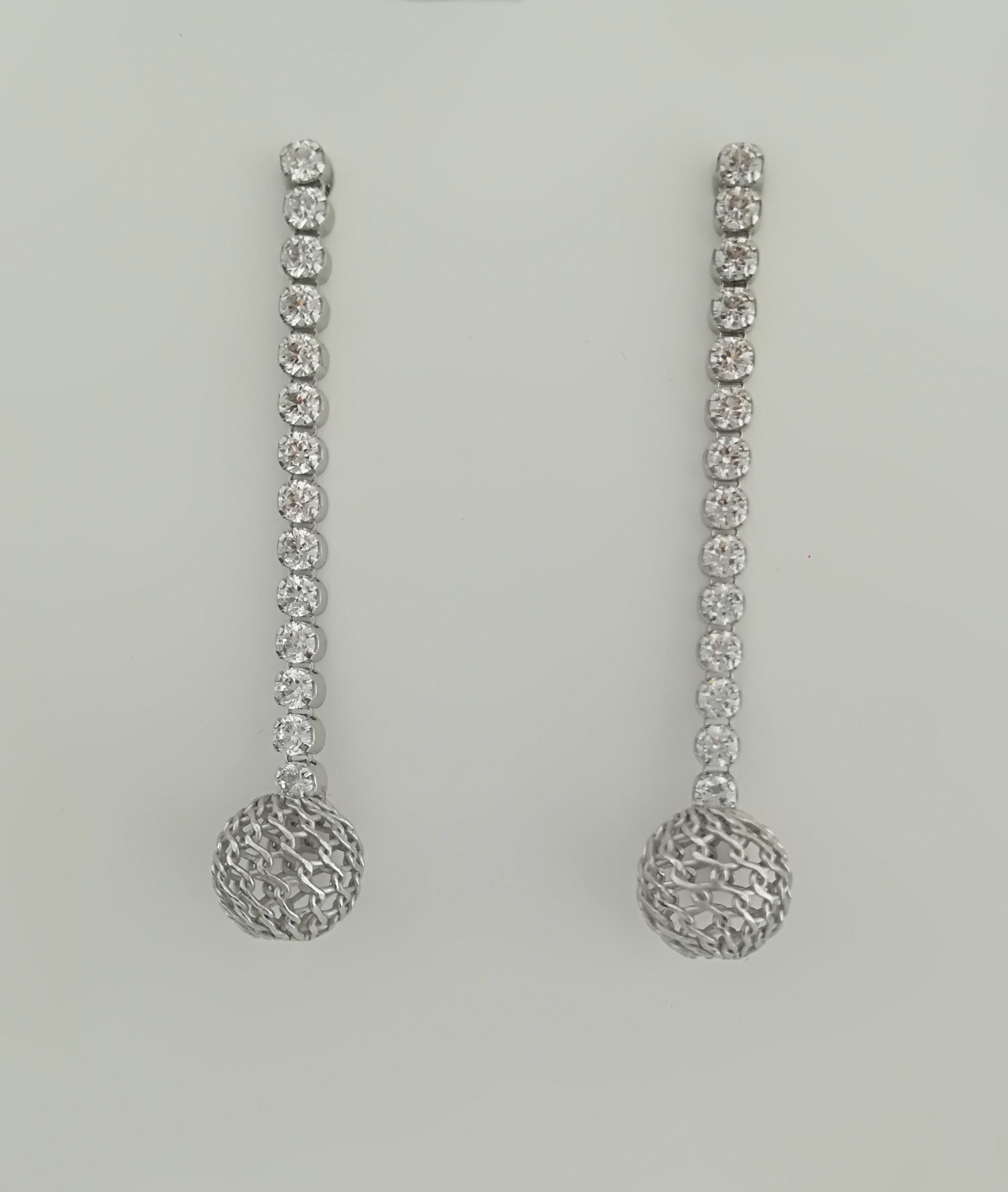 orecchini argento rodiato tennis di zirconi e sfera a calza