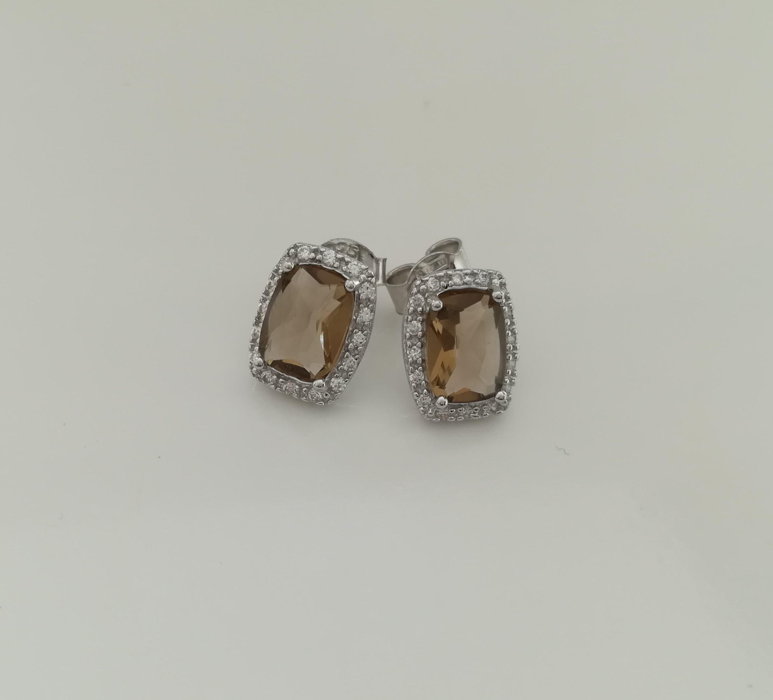 orecchini Ag.925 e zirconi ottagonale brown